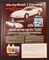 Magazine Ad for Mobil Oil Corvette Sweepstakes, Mini-Cars, 1985