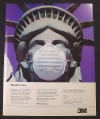 Magazine Ad for 3M Disposable Masks, Statue of Liberty Wearing One, 1982