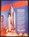 Magazine Ad for Air Force Recruitment, Space Shuttle, Aim High, 1982
