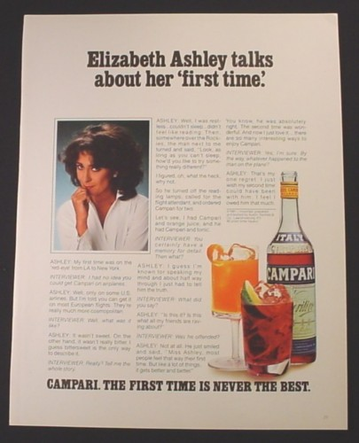 Magazine Ad for Campari, Alcohol, Elizabeth Ashley Celebrity Endorsement, 1982