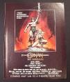 Magazine Ad for Conan The Barbarian Movie, Arnold Schwazenegger, Sci-Fi, 1982