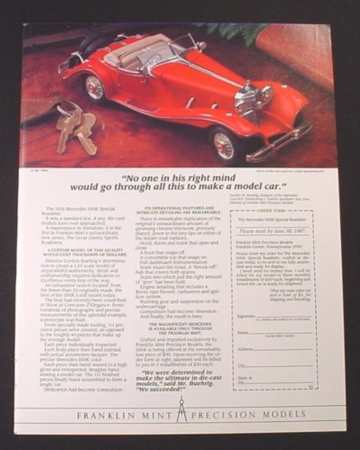Magazine Ad for 1935 Mercedes 500K Special Roadster Die-Cast Car, Franklin Mint