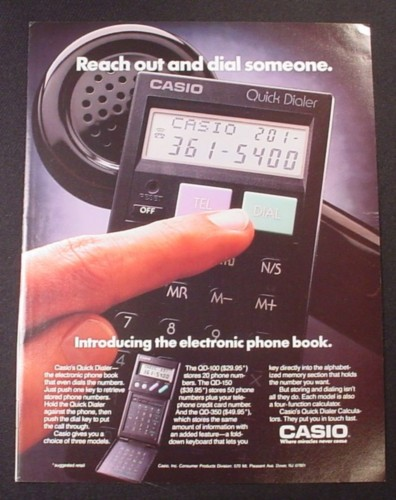 Quick Ads For Beauty Product Blusher Oneminutebriefs: Magazine Ad For Casio QD-100 Quick Dialer, Hold To Phone