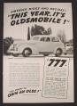 Magazine Ad for Olds 60 2-Door Sedan, $838, America Rides, 1939