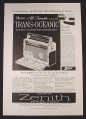 Magazine Ad for Zenith Trans Oceanic Standard & Shortwave Radio, $250, 1957