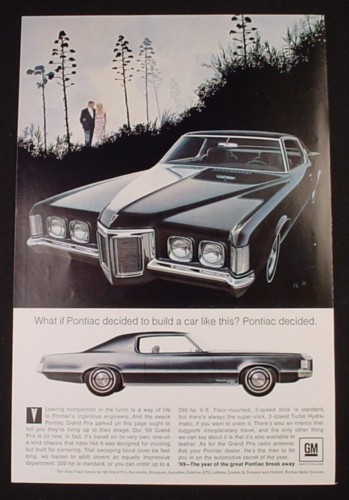 Magazine Ad for 1969 Wide Track Grand Prix Car, Front & Side Views, 1968