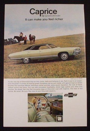 Magazine Ad for 1968 Chevrolet Caprice Sedan, Field with Horses, 1968
