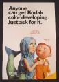 Magazine Ad for Kodak Color Developing, Mermaid with Film, 1971