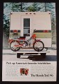 Magazine Ad for Honda Trail 90 Motorcycle, On Back Of Camper, 1972