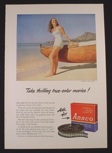 16mm Reel Movie Projectors: Magazine Ad For Ansco 16 MM Movie Film, Box & Reel, 1948