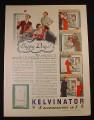 Magazine Ad for Kelvinator Refrigerator, Happy Days, 4 In 1, 1934