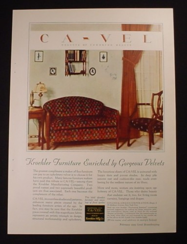 magazine ad for kroehler furniture couch with cavel velvet - Kroehler Furniture
