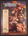 Magazine Ad for Furskins Plush Bears Toys, Most Bodacious Beguiling, 1985