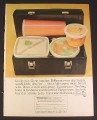 Magazine Ad for Tupperware Containers in Lunch Kit, 1964, 8 1/4 by 11