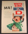 Magazine Ad for White King D Detergent, Dirty Girl with Box, 1960, 8 1/4 by 11