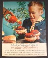 Magazine Ad for Del Monte Catsup, Scout with Hamburgers, 1963, 8 1/4 by 11