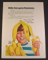 Magazine Ad for Dole Bananas, Boy with Banana Peel On His Head, 1972, 8 1/4 by 11