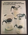 Magazine Ad for Corning Pyrex Coffee Pots, 4 Models, 1972, 8 1/4 by 11