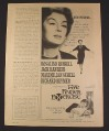 Magazine Ad for Five Finger Exercise Movie, Rosalind Russell, 1962, 2/3 of 8 1/4 by 11 page