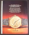 Magazine Ad for Corum Gold Coin Watch, 1974