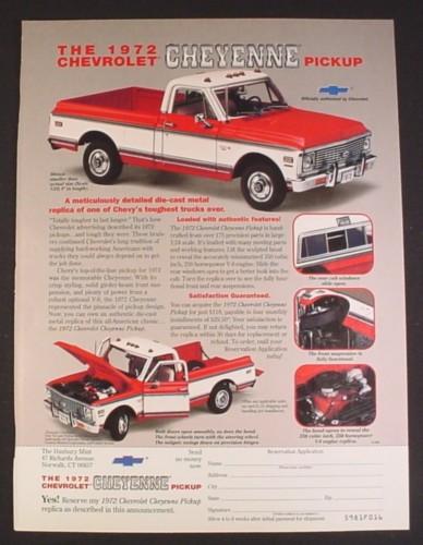 Magazine Ad for 1972 Chevrolet Cheyenne Diecast Metal Car, Danbury Mint, 1998