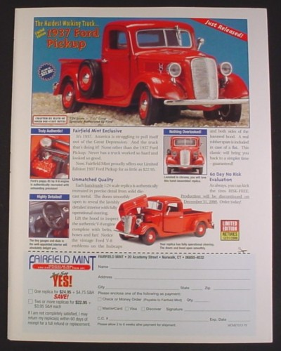 Magazine Ad for 1937 Ford Pickup Diecast Metal Model, Fairfield Mint, 1999
