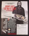 Magazine Ad for Johnny Cash The man In Black Collector Knife, Franklin Mint, 1999
