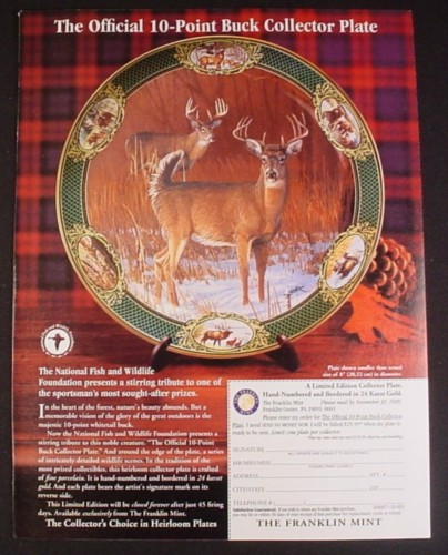 Magazine Ad for 10 Point Buck Collector Plate, Franklin Mint, 1999