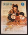 Magazine Ad for Cherished Traditions Native American Family of Dolls, Paradise Galleries, 2000