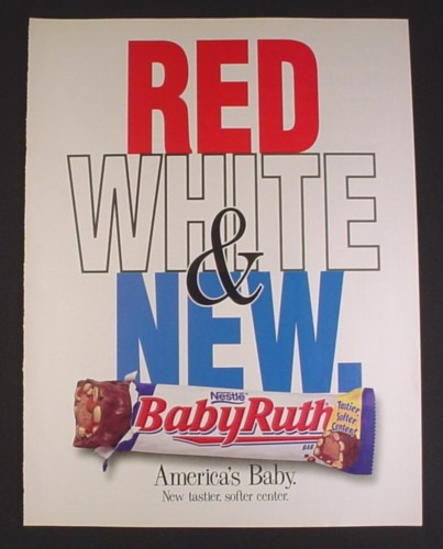 Magazine Ad for Baby Ruth Chocolate Bar, Red White & New ...
