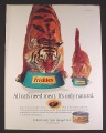 Magazine Ad for Friskies Cat Food, Tabby Cat & Tiger Eating Beside Each Other, 2001