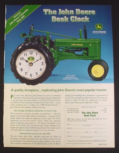 Magazine Ad for John Deere 1948 Model B Tractor Desk Clock, Danbury Mint, 2001