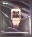 Magazine Ad for Fendi Watch with Black Background, 2007