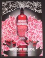 Magazine Ad for Absolut Raspberry, Absolut Release, 2004