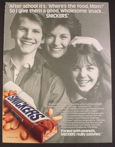 Magazine Ad for Snickers Chocolate Bar, Mother & 2 Kids ...