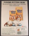 Magazine Ad for Purina Kitten Chow, Orange & White Kitten with Rattle Toy, 1985