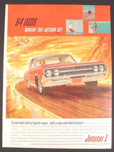 Magazine Ad for 64 Olds Jetstar I Car, Sports Coupe, 1963