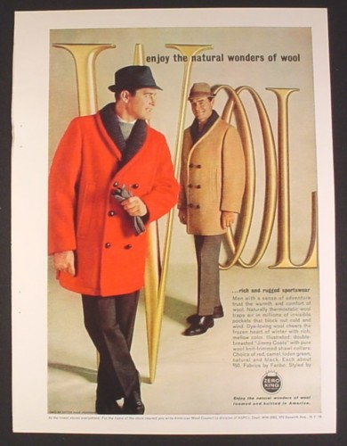 Men's Fashion 1963 http://magazinesadsandbooks.com/Magazine-Ad-for-Wool-Mens-Dress-Coats-Red-Tan-Zero-King-1963-P2456759.aspx