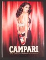 Magazine Ad for Campari Drink, Salma Hayek Celebrity Endorsement, Bottle Behind Back, 2007