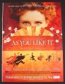 Magazine Ad for As You Like It, HBO Movie, 2007