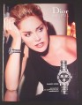 Magazine Ad for Dior Christal Ladies Watch, Sharon Stone Celebrity Endorsement, 2007