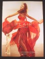 Magazine Ad for Flair Perfume, Revlon Fragrance, Woman in Red Gown, 2007