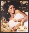 Magazine Ad for Baby Phat Golden Goddess Perfume, Kimora Lee Simmons, Fur, 2008