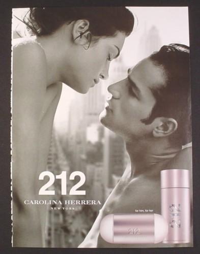 Magazine Ad for 212 Fragrance For Him & Her, Carolina Herrera, 2004