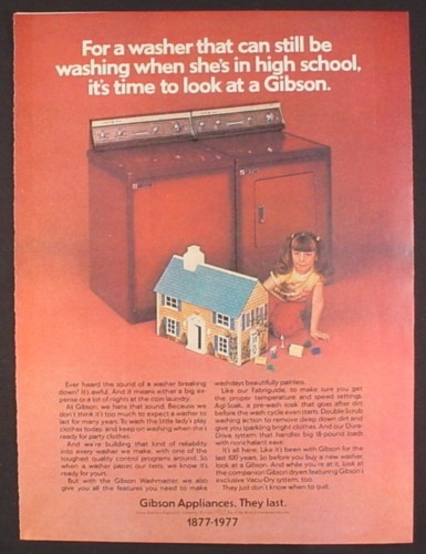 Magazine Ad for Gibson Appliances, Girl with Tin Litho Dollhouse, 1977