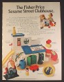 Magazine Ad for Fisher Price Little People Sesame Street Clubhouse & Accessories, 1977