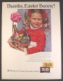 Magazine Ad for M&M's Candies, Girl with Easter Basket, Thanks Easter Bunny, 1978