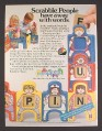 Magazine Ad for Scrabble People & Scrabble Village Toys, 1985
