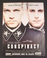 Magazine Ad for Conspiracy HBO TV Movie, Kenneth Branagh, Stanley Tucci, 2001