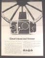 Magazine Ad for Hasselblad 500C/M Camera, 2 1/4 by 2 1/4 Negatives, 1980